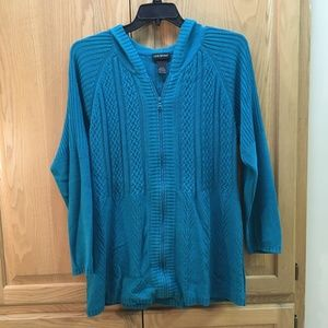 Lane Bryant cable knit cardigan sweater with hood